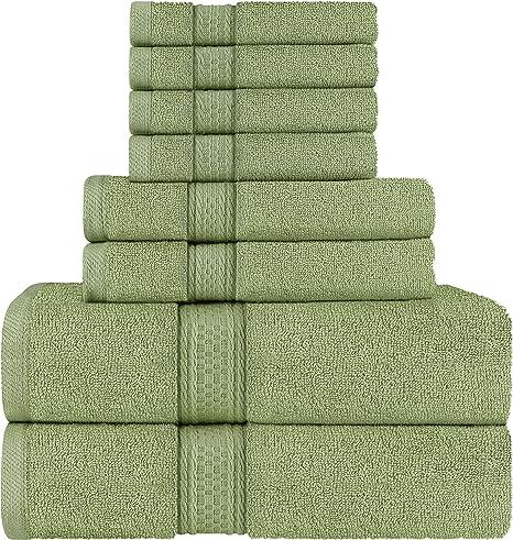 Utopia Towels Premium 600 GSM Cotton 8 Piece Towel Set Blue