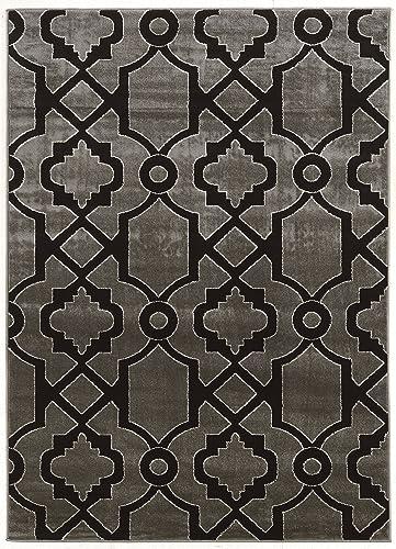 Linon Elegance Collection Ellegance Geo 2 Dark Gray Bla, 8 x 10