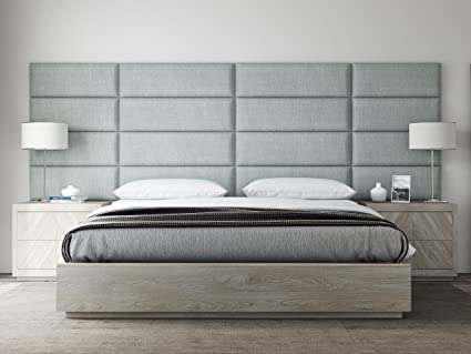VANT Upholstered Headboards   Accent Wall Panels   Packs Of 4   Textured  Cotton Weave Ash