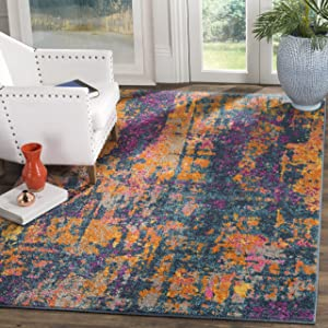 Safavieh Madison Collection MAD143A Blue and Orange Modern Bohemian Chic Abstract Area Rug (4' x 6')