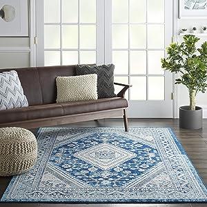 "Nourison Persian Vintage 5' x 7' Bohemian Style Area Rug, 5'3""X7'3"", IVORY BLUE"