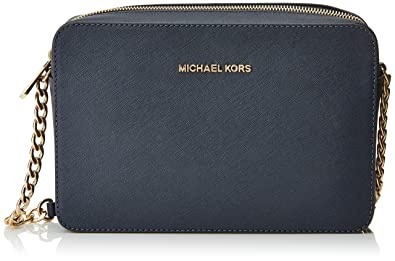 michael kors women s jet set crossbody leather bag blue large rh amazon com