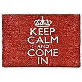 Relaxdays Keep Calm And Come in Zerbino da Ingresso, Legno_Composito, Rosso, 50 x 65 cm