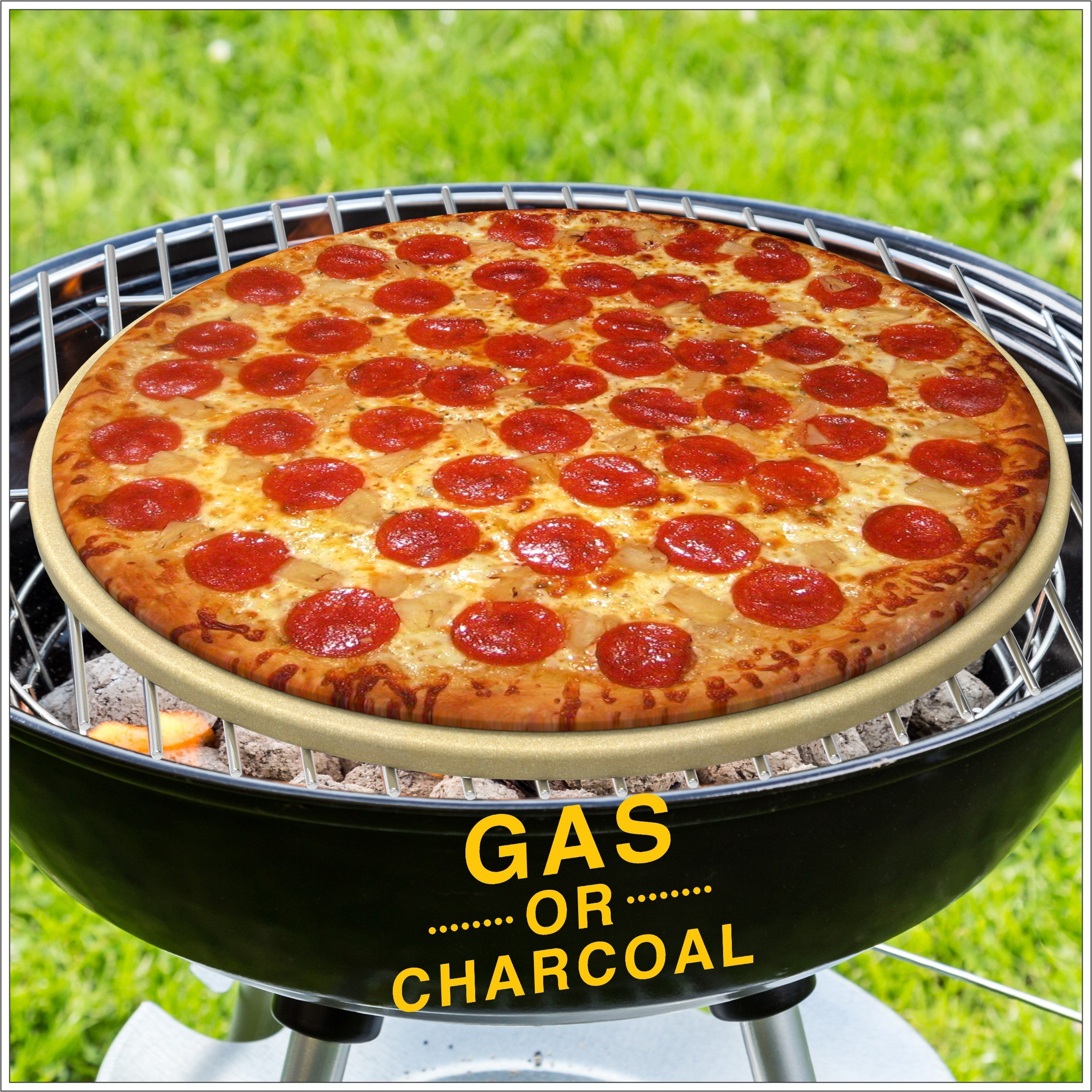 Pizza Stone for Best Crispy Crust Pizza, The Only Stoneware with Thermarite (Engineered Tuff Cordierite). Durable, Certified Safe, Ovens & Grills 16 Round, Bonus Recipe Ebook & Free Scraper by CastElegance (Image #4)