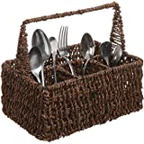 Brown Hand Woven Seagrass 4 Compartment Home Storage Basket / Rustic Organizer Bin w/ Handle - MyGift®