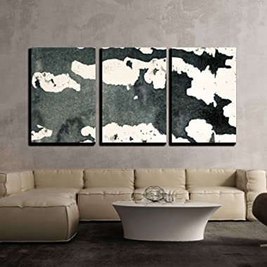 wall26 - 3 Piece Canvas Wall Art - Abstract Painted Grunge Background, Ink Texture. - Modern Home Decor Stretched and Framed Ready to Hang - 24 x36 x3 Panels