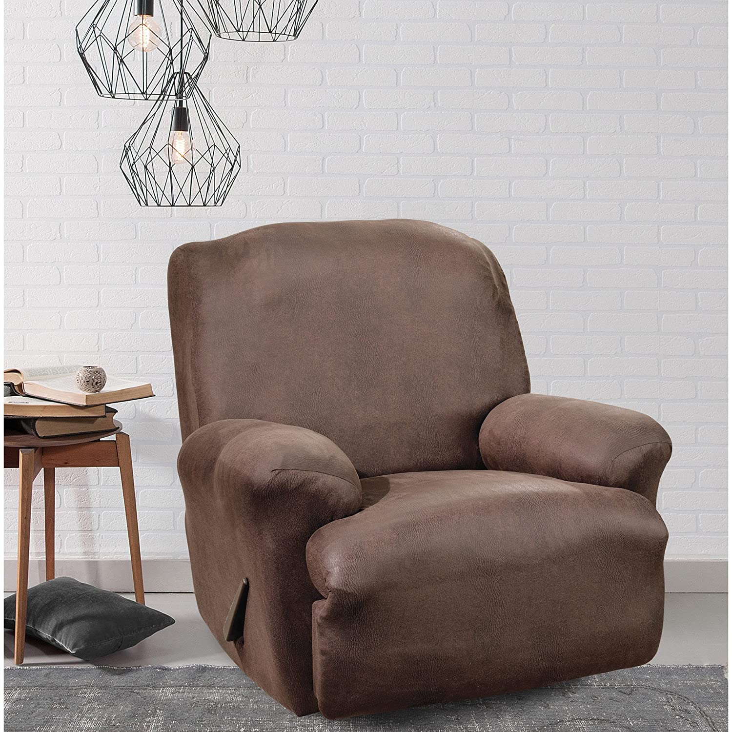 Sure Fit Brown Stretch Faux Leather Recliner Slipcover brown