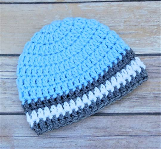 74bc909b5 Amazon.com: Crochet Baby Hat - Light Blue, Gray, and White - Baby ...