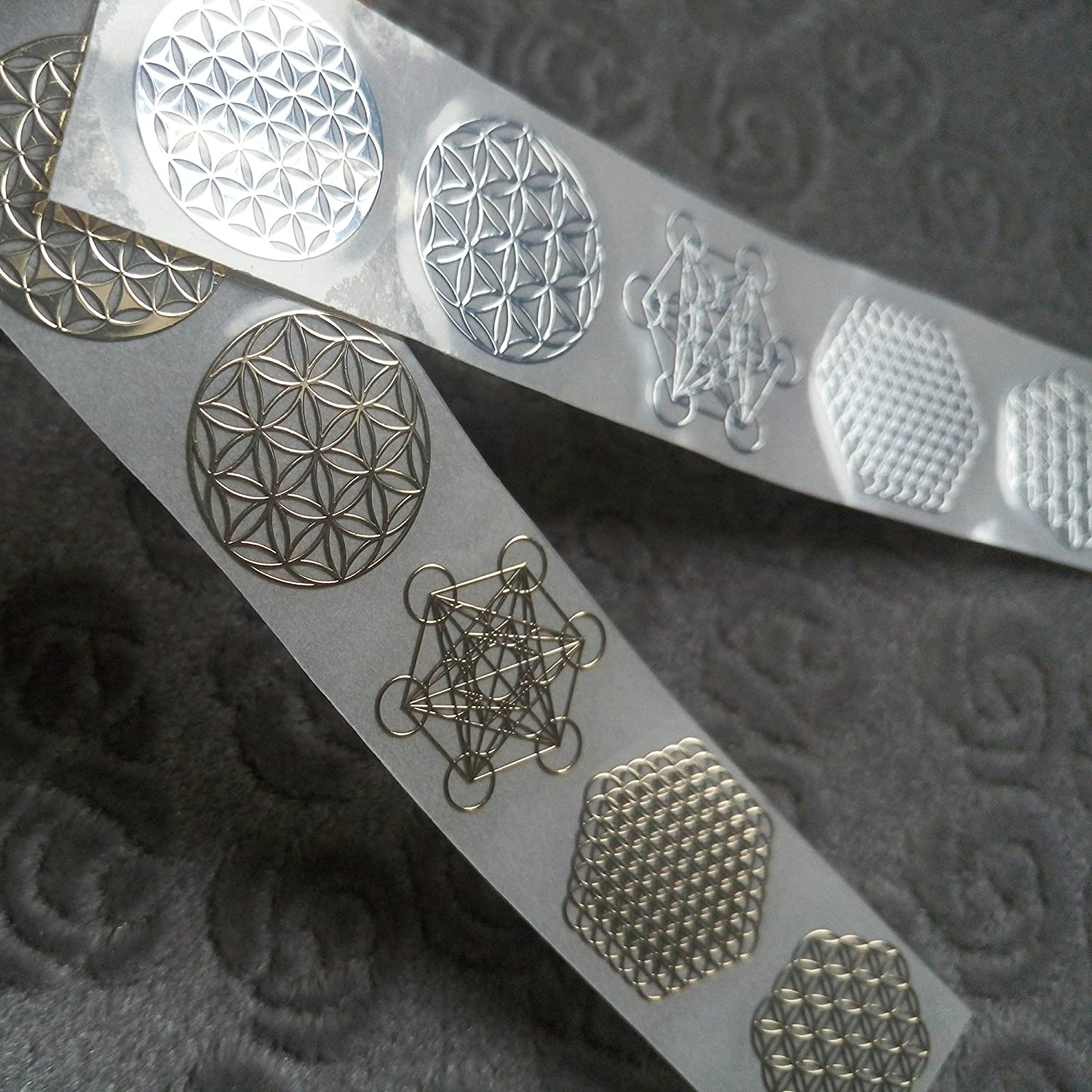 MetalArtern Flower of Life Gold and Chrome Silver Small Metal Sticker for Mobile Phone DIY (Gold)