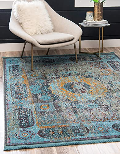 Unique Loom Baracoa Collection Bright Tones Vintage Traditional Blue Area Rug 8' 4 x 10' 0