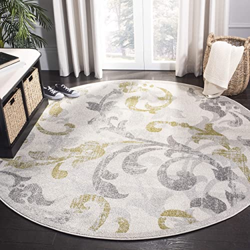 Safavieh Amherst Collection AMT428E Ivory and Light Grey Indoor/ Outdoor Round Area Rug 9' Diameter