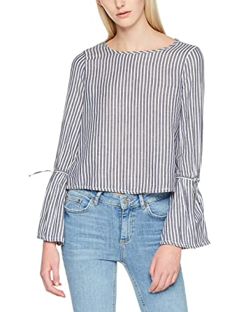 Onlrosie Bell Striped DNM Shirt Qyt, Blouse Femme, Multicolore (White Denim Stripes: Dark Stripes), 38 (Taille Fabricant: 36)Only