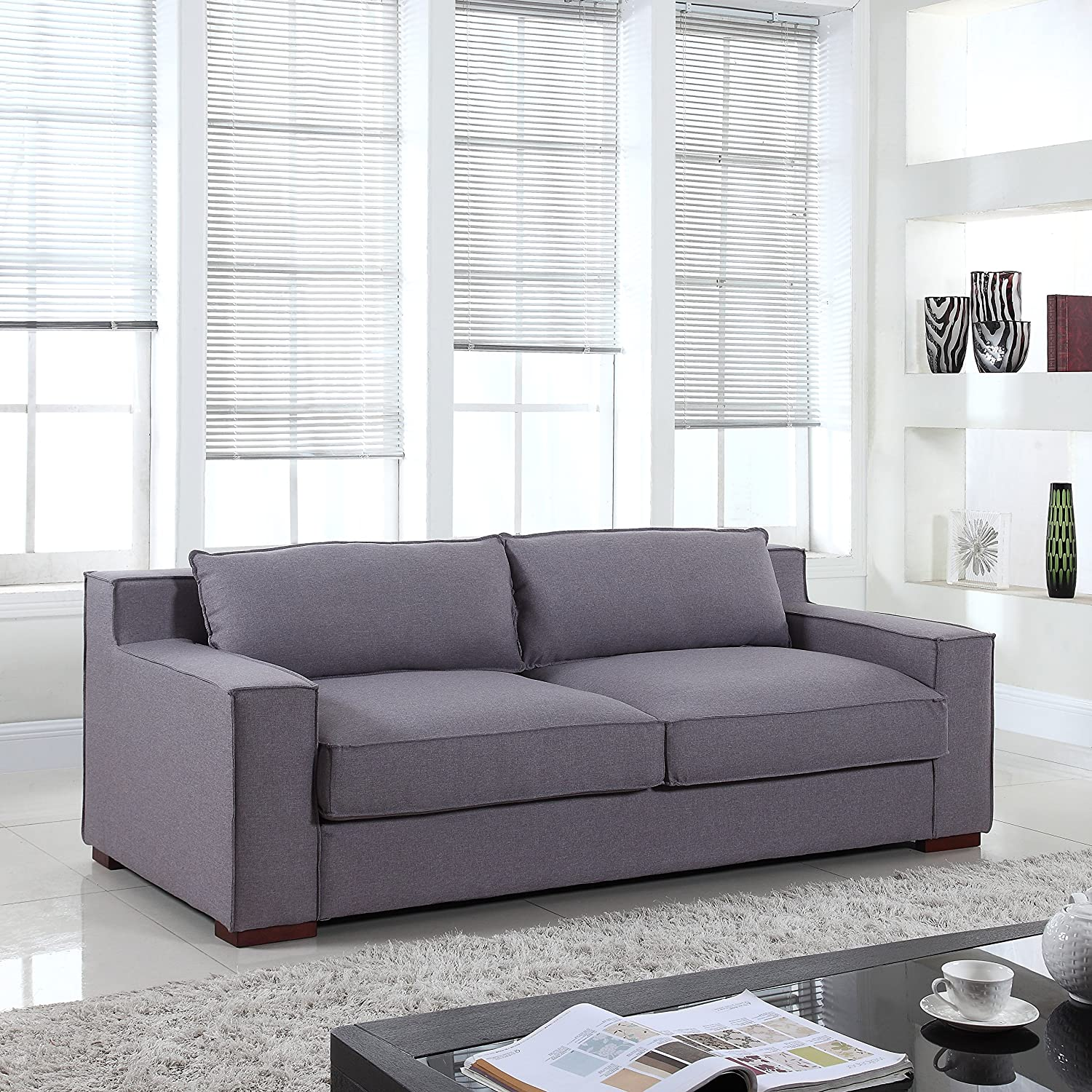 amazoncom divano roma furniture signature collection  modern capri linensofa with real goose feathers and wide track arm rests dark grey lightgrey . amazoncom divano roma furniture signature collection  modern