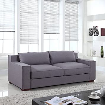 Divano Roma Furniture Signature Collection   Modern Capri Linen Sofa With  Real Goose Feathers And Wide