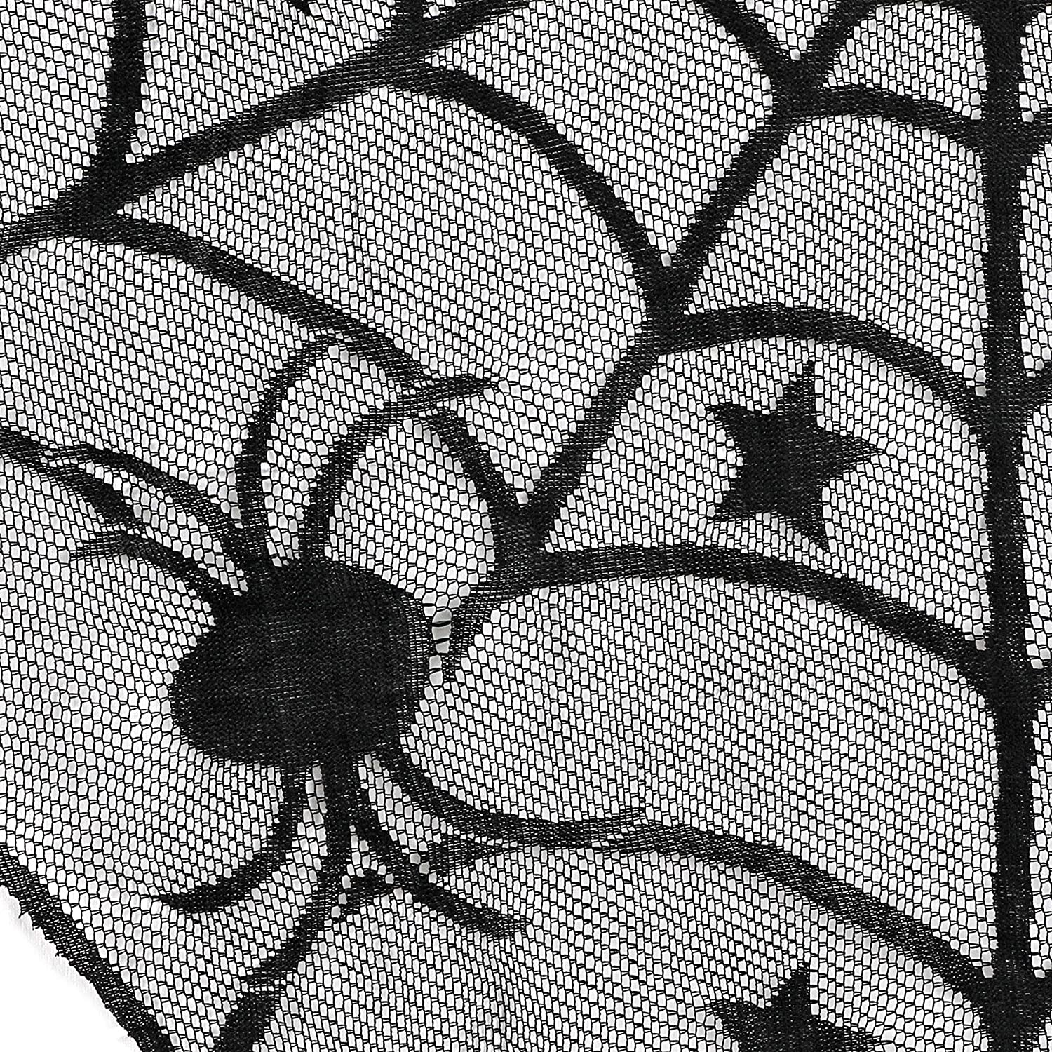 HOWAF 18 x 96 inch Cobweb Fireplace Scarf Lace Spiderweb Mantle Lace Runner and 40 inch Round Lace Spiderweb Table Topper Cloth for Table Door Window Halloween Decoration Party Supplies