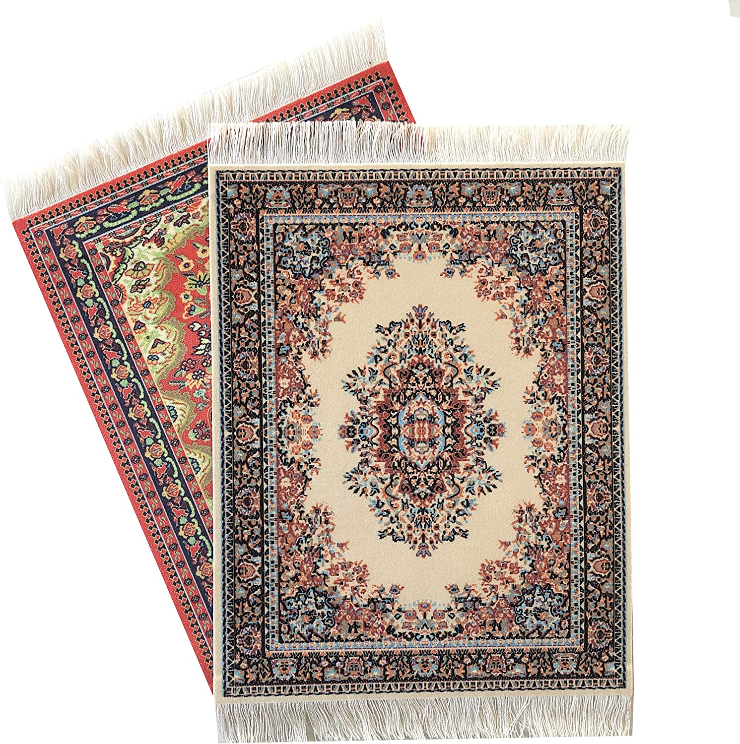 "Inusitus Set of 2 Dollhouse Carpets | Miniature Dolls House Rugs | 10x7 | Toy Furniture | 1"" Scale (Set-6-11)"