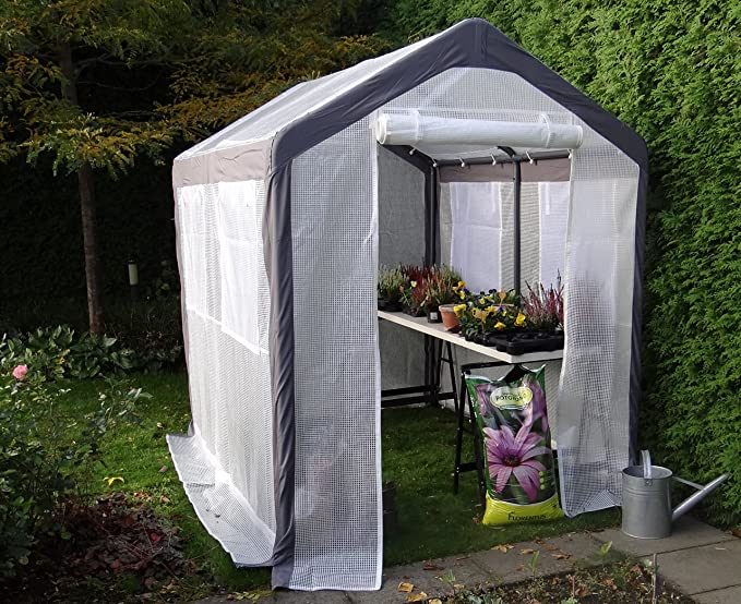 Invernadero de aluminio Invernadero Caseta de jardín Vivero de vegetación| SORARA | 2 x 2, 50 m | 42 kg | Ventanas, mosquitero, puertas | Blanco / PE ...