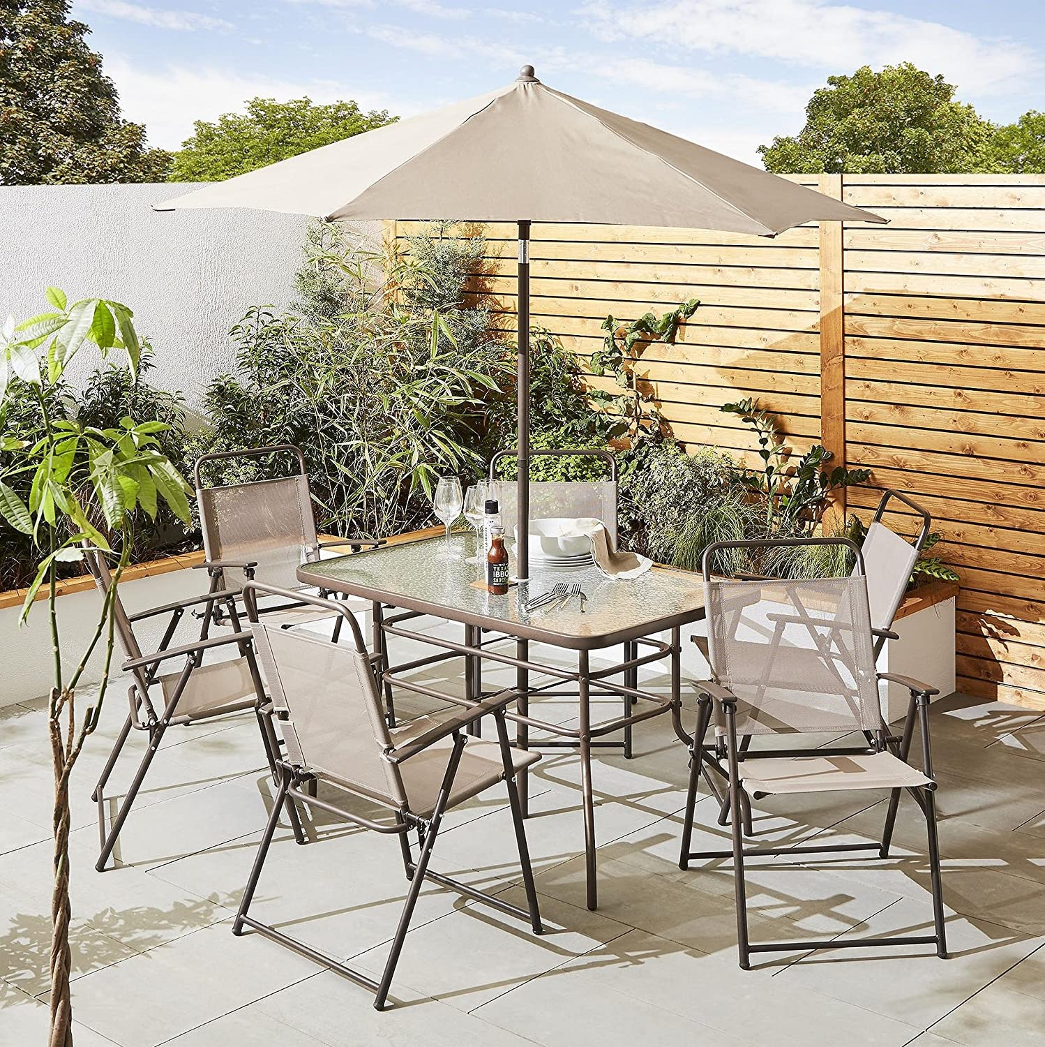 Tesco NEW Hawaii 11 Piece Garden Patio Dining Furniture Set - Cappuccino