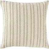 "Amazon Brand – Stone & Beam French Laundry Stripe Decorative Throw Pillow, 17"" x 17"", Ivory, Tan"