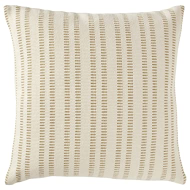 Stone & Beam French Laundry Stripe Pillow, 17  x 17 , Ivory, Tan