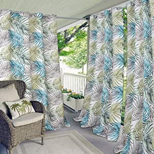 "Elrene Home Fashions Indoor/Outdoor Grommet Top Single Patio Curtain Tropical Bahamas Leaf Print Window Drape, 50"" x 108"" (1 Panel)"