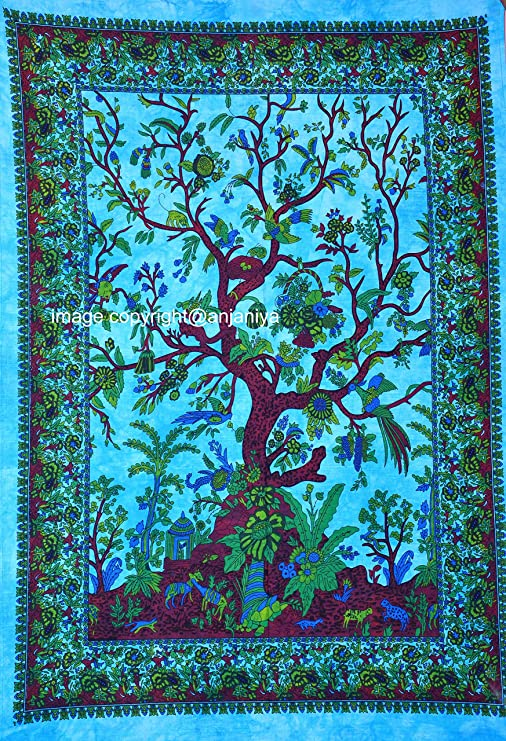 Tree Of life Twin Size Mandala Tapestry Wall Art Hippie Bohemian Turquoise Blue