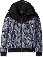 Southpole Men's Long Sleeve Fleece Hooded Ninja Neck Full Zip with Color Block All Over Prints