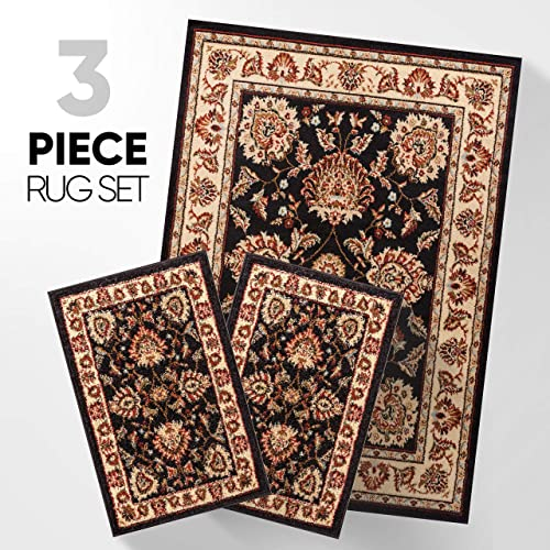 Abby Oriental Persian Floral Traditional Modern Classic Transitional Black Ivory Beige Red 3-piece Living Dining Room Entryway Bathroom Kitchen Ultra Value Area Rug Set 5×7 and Bonus 2×3 Mats