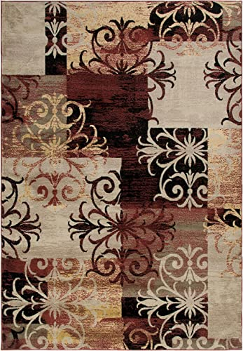 Rizzy Home Wynwood Collection Cotton Jute Area Rug, 5 x 7 , Rust Beige