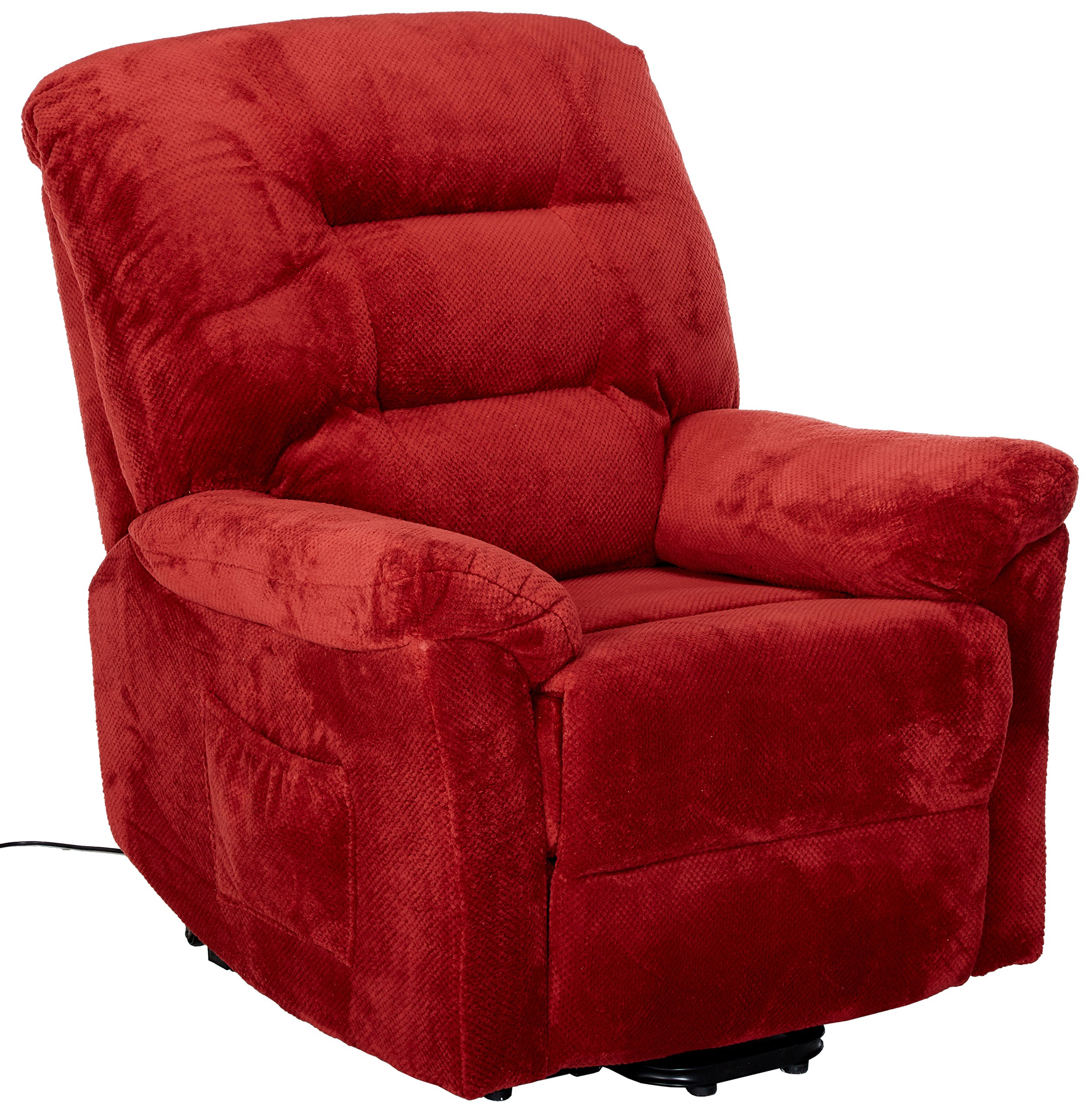 Coaster Home Furnishings  Modern Transitional Power Lift Wall Hugger Recliner Chair with Emergency Backup - Brick Red Textured Chenille
