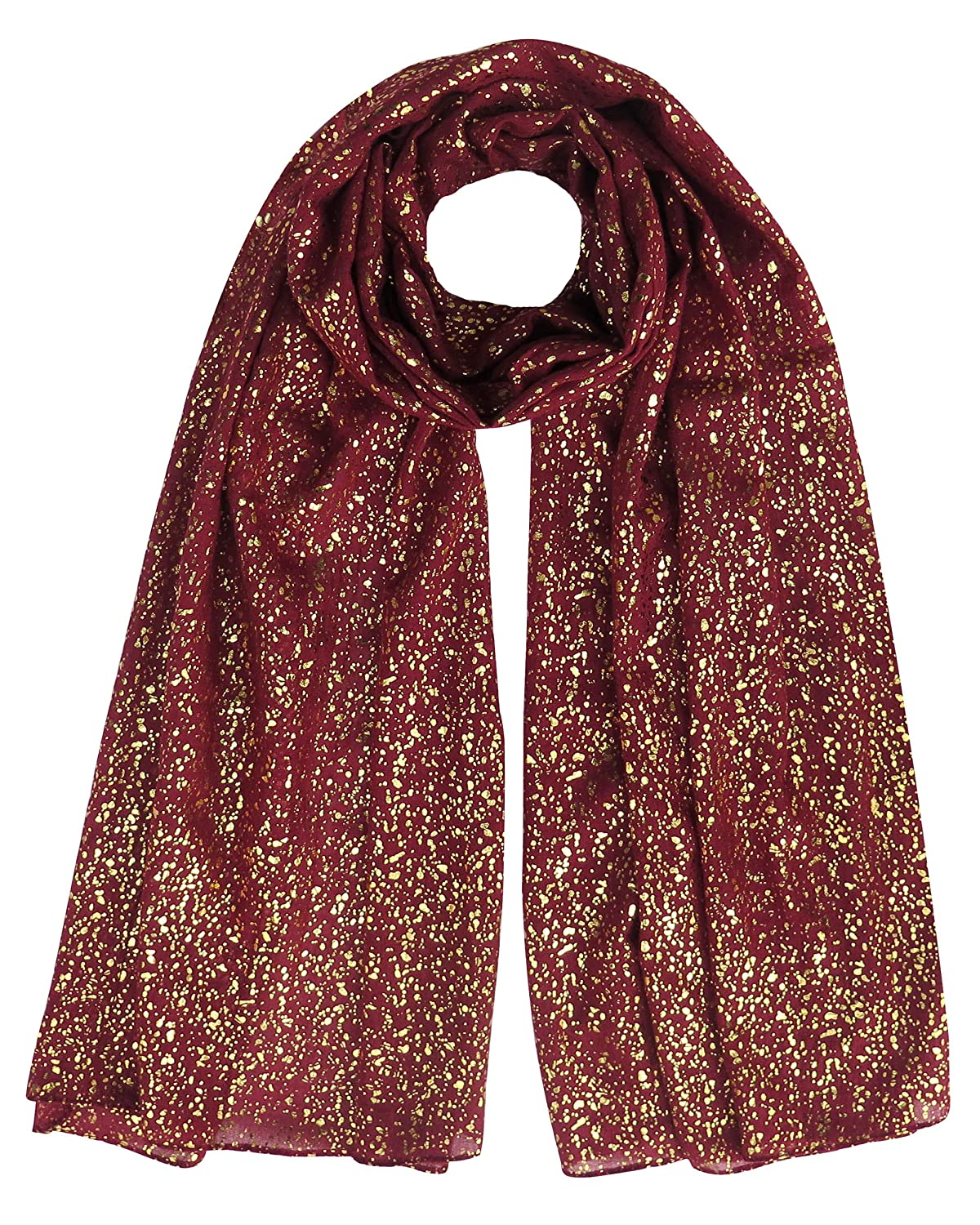 Lina & Lily Gold Glitter Women's Scarf Hijab Head Wrap Oversized (Black)
