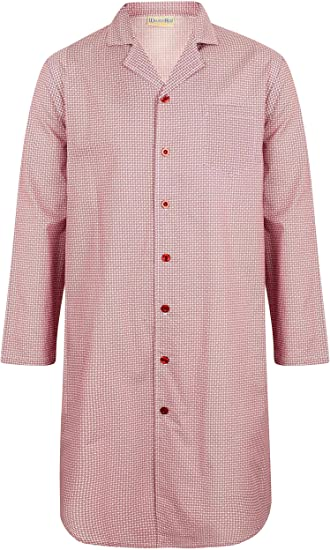 Mens 100/% Cotton 42 or 106cm Long Sleeve Button Up Traditional Check Nightshirt