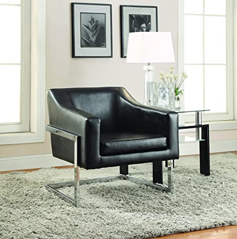 Incredible Coaster Contemporary Black Faux Leather Upholstered Accent Chair With Chrome Base Lamtechconsult Wood Chair Design Ideas Lamtechconsultcom