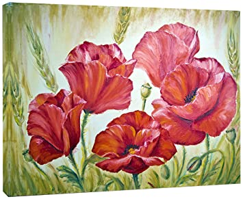 amazon com poppies in wheat large floral wall art canvas print