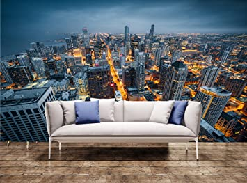 Wall Mural Huge Chicago skyline Wall Print Wall Mural Wall Decal Wall Tapestry & Wall Mural Huge Chicago skyline Wall Print Wall Mural Wall Decal ...