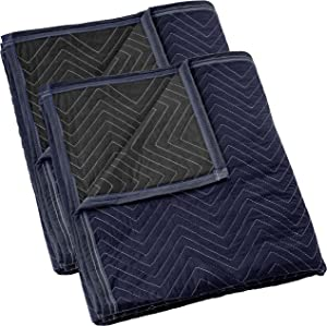 """Sure-Max 2 Moving & Packing Blankets - Pro Economy - 80"""" x 72"""" (35 lb/dz weight) - Professional Quilted Shipping Furniture Pads Navy Blue and Black"""
