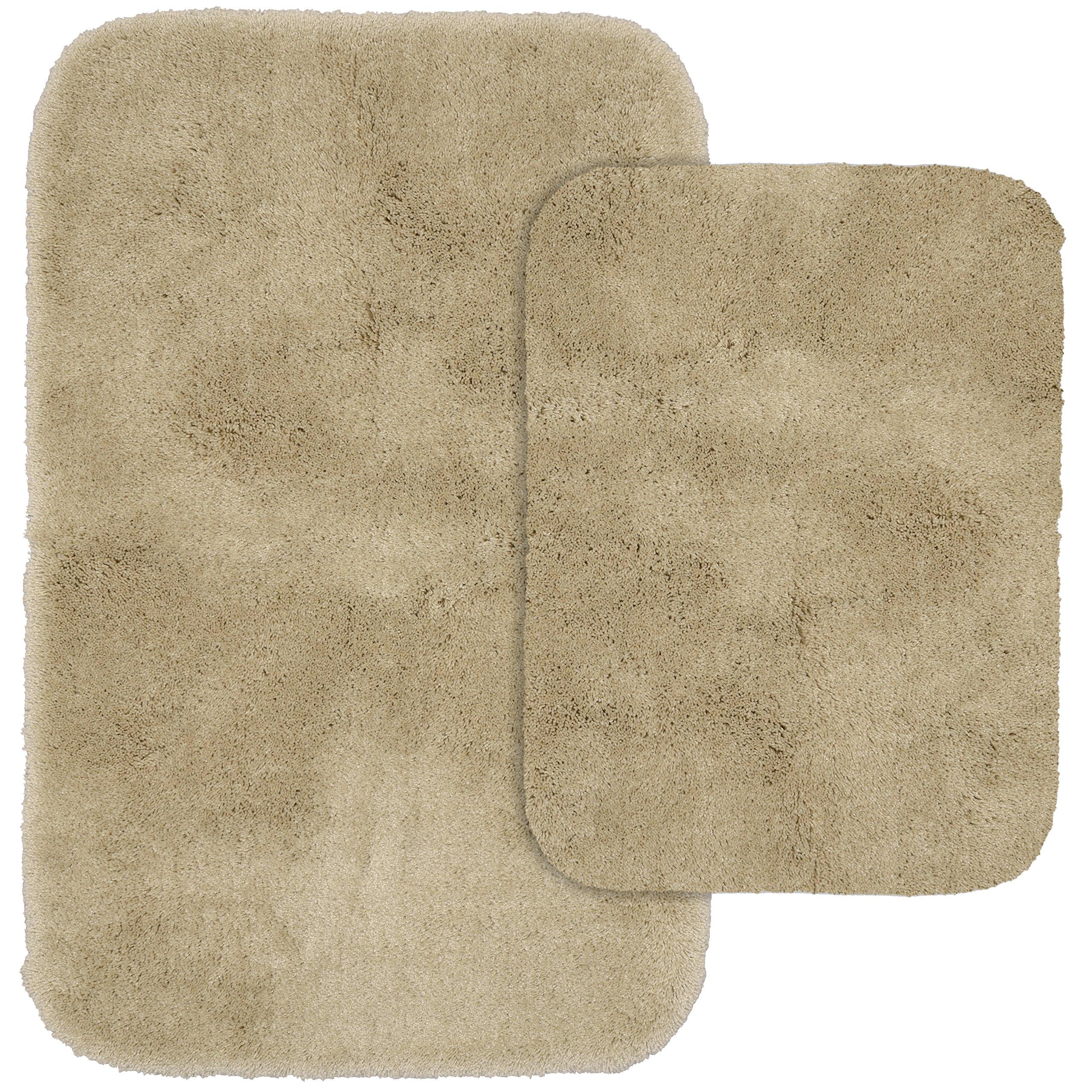 Garland Rug 2-Piece Finest Luxury Ultra Plush Washable Nylon Bathroom Rug Set, Linen