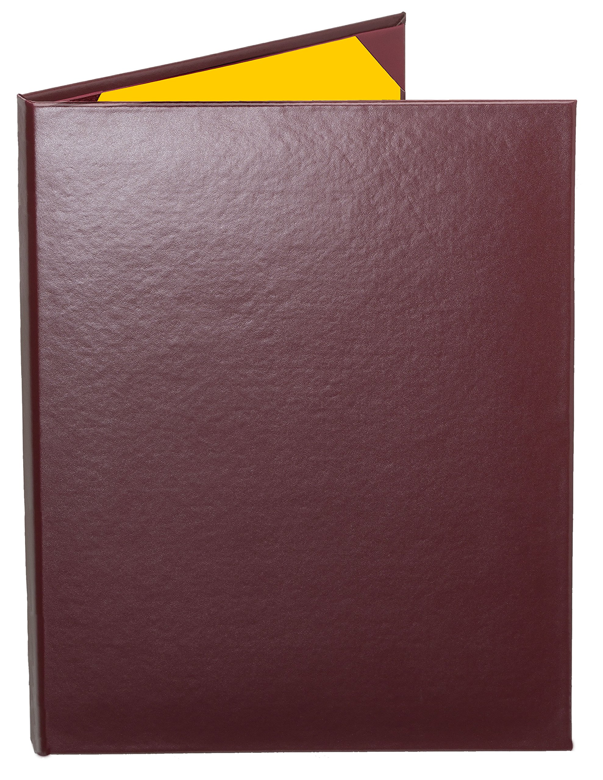 Case of 5 Cascade Casebound Menu Covers #8024 BURGUNDY DOUBLE PANEL - 2-VIEW - 8.5'' WIDE x 11'' TALL - WATERFALL EDGE. Interior album-style corners. Type MenuCoverMan in Amazon search.