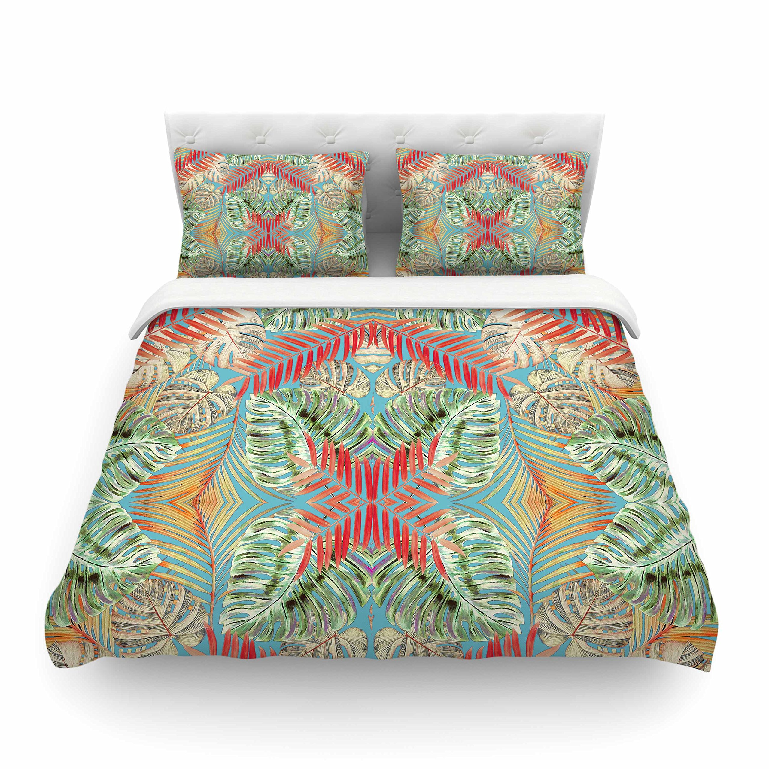KESS InHouse AC1107ACD03 Alison Coxson ''Summer Jungle Love Blue '' Red Aqua King Cotton Duvet Cover, 104 by 88'',,