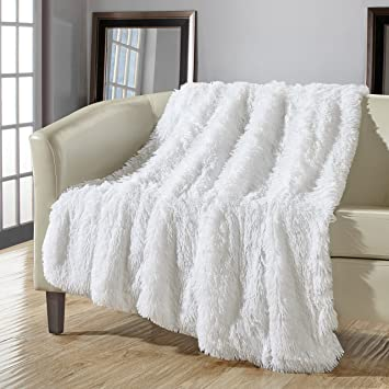 chic home 1 piece anchorage shaggy faux fur supersoft ultra plush decorative throw blanket 50 x - Decorative Throw Blankets