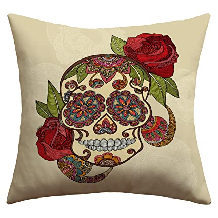 Superbe Deny Designs Valentina Ramos Sugar Skull Outdoor Throw Pillow, 16 X 16