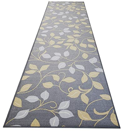 Custom Cut 22-inch Wide by 30-feet Long Runner, Grey Floral Non Slip,  Non-Skid, Rubber Backed Stair, Hallway, Kitchen, Carpet Runner Rug - Choose  Your ...