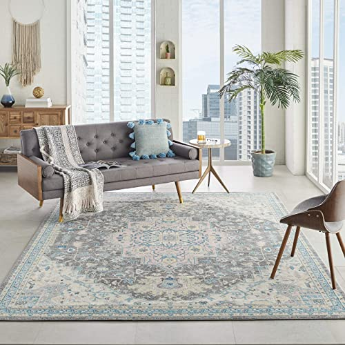 Persian-Rugs T1016 Gray Black White 7 10 x 10 2 Floral Oriental Area Rug Carpet