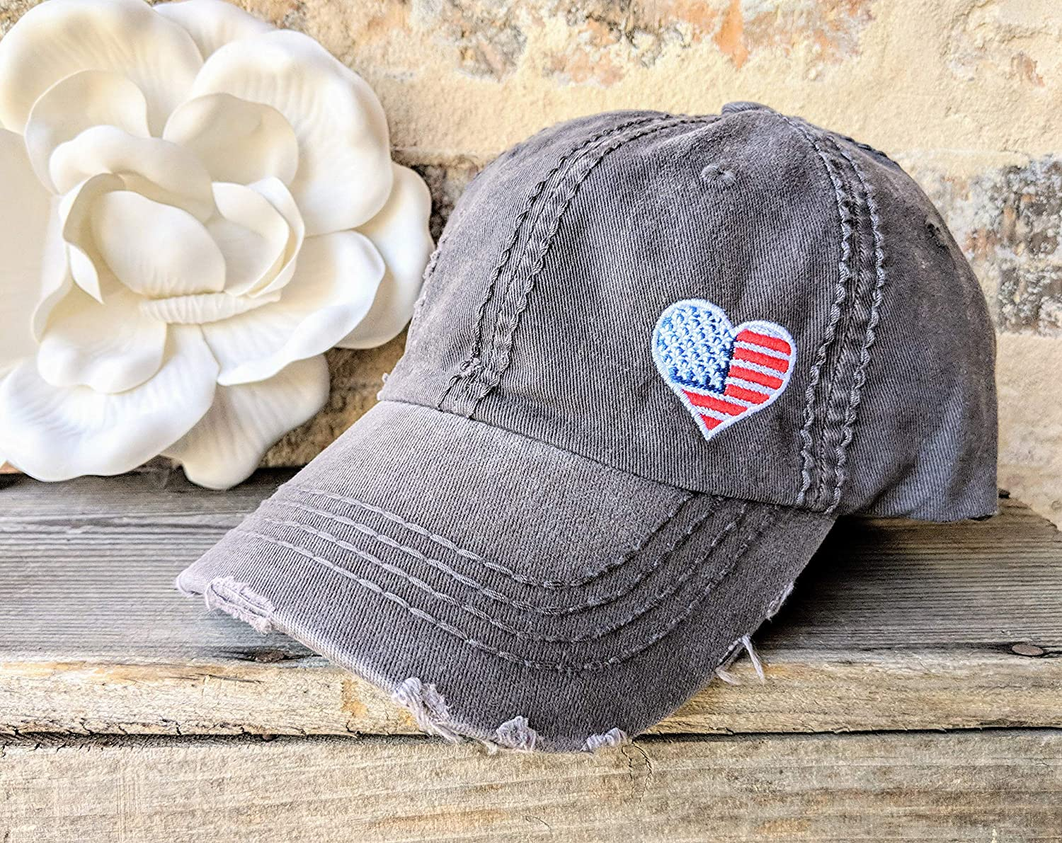 Loaded Lids Customized Patriotic Hat Womens Heart Flag Hat USA Hat USA