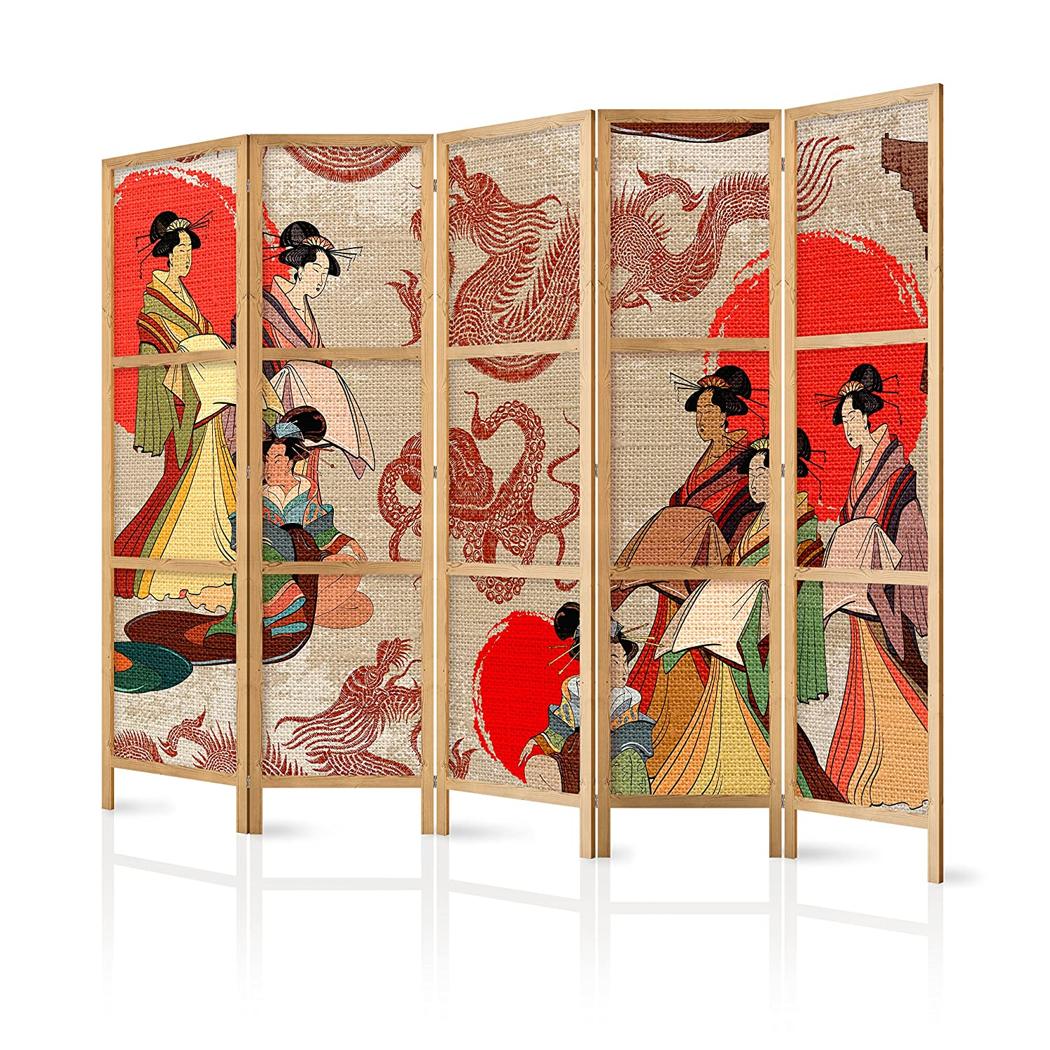 11 5 pieces murando Room Divider XXL 225x171cm 5 Pieces Non Woven Fabric German Quality Room Divider Wood Design Pattern Hand Made Japan p-A-0009-z-c