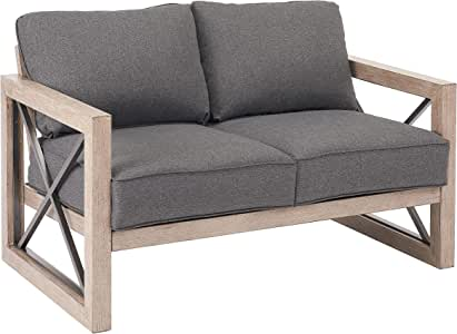 Better Homes & Gardens Remsen 2-Piece Patio Loveseat Set with Gray Cushions