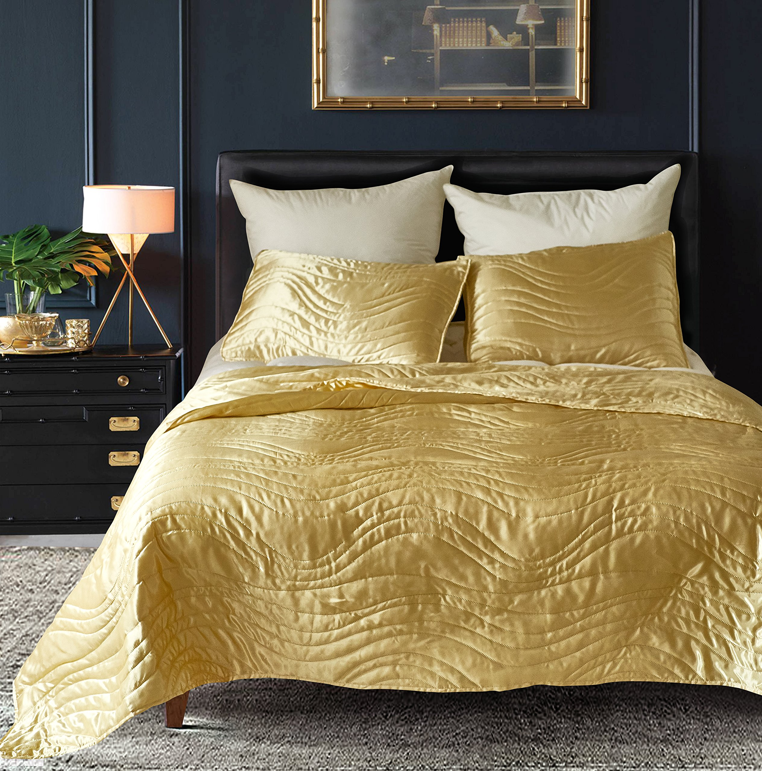 DuShow imitated silk Solid Color Bedspread Coverlet Set -3 Piece (1 Bedspread + 2 Pillow Shams)-Queen Size(90'' 90'')-Lightweight Comfortable-Golden