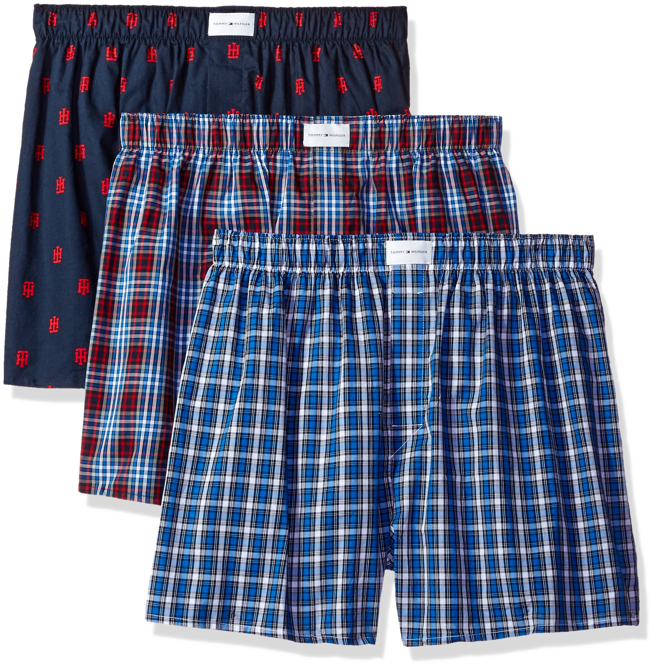 Tommy Hilfiger Men's Underwear 3 Pack Cotton Classics Woven Boxers, Red Plaid Logo Print/Blue Plaid, X-Large