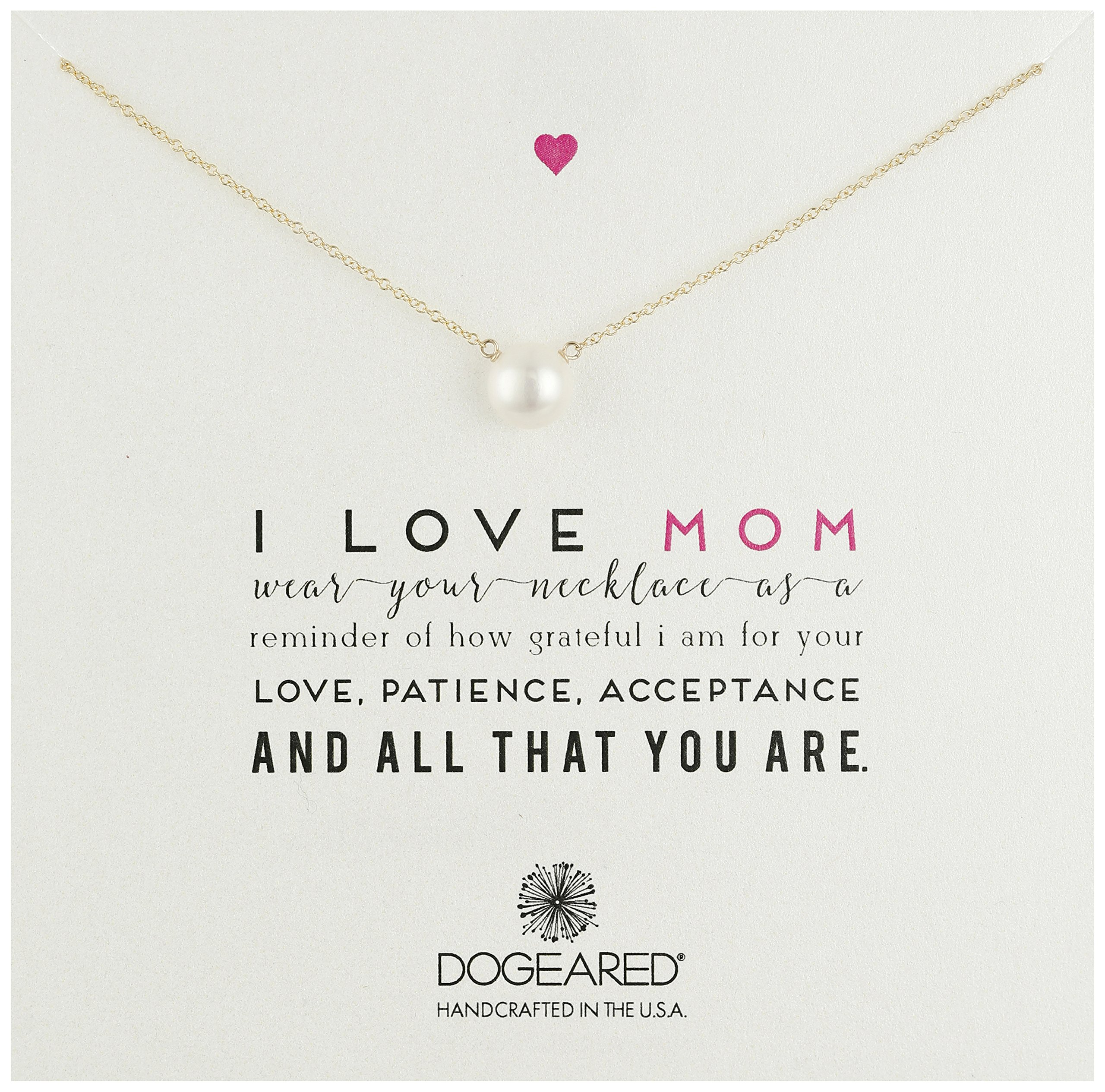 Dogeared ''Mom I Love Mom Gold Large White Pearl Necklace, 20''