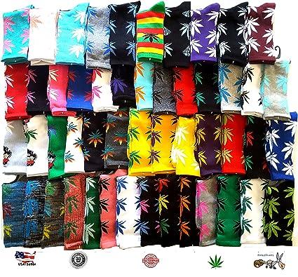 3 pares calcetines algodón de alta para hombres/mujeres (Mix Color), diseño de hoja de marihuana Weed: Amazon.es: Ropa y accesorios